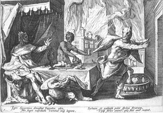 Lycaon es convertido en lobo (H. Goltzius, 1589)