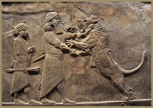 Assurbanipal matando un leon-Pal Assurbanipal Ninive-British Museum 11